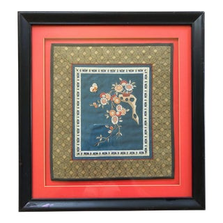 Framed Chinese Floral Silk For Sale