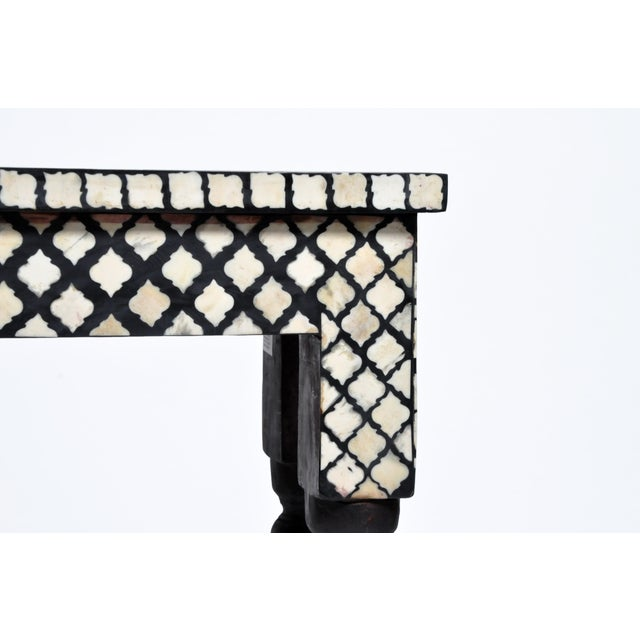White Bone Inlay Console Table For Sale - Image 8 of 13