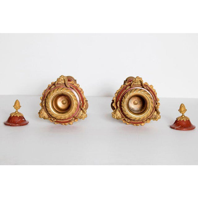 Late 19th Century Pair of Gilt Bronze Mounted Rouge Marble Lidded Coupes For Sale - Image 11 of 13