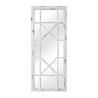 Jardin Distressed White Solid Wood Accent Mirror For Sale
