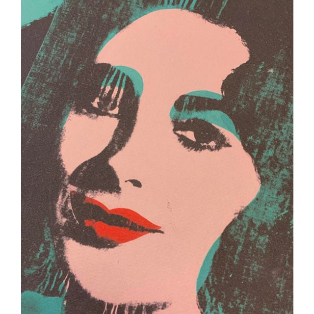 """Andy Warhol Turquoise Andy Warhol Limited Edition """"Liz, 1964"""" Stone Signed, Numbered, and Authenticated Lithograph For Sale - Image 4 of 12"""