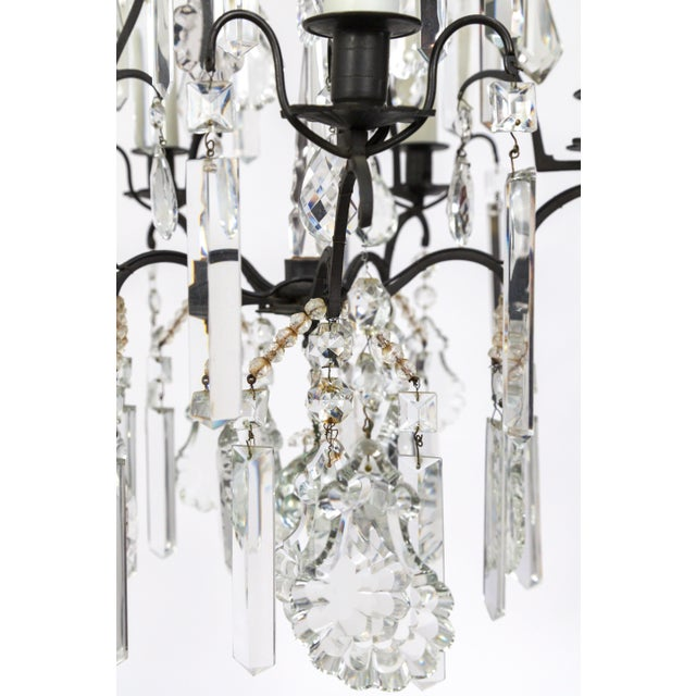Bronze Multi Crystal Birdcage Chandeliers (Pair) For Sale - Image 7 of 13