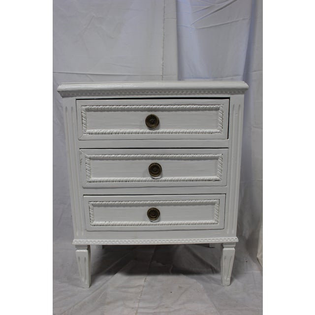White 20h Century Gustavian Dove Wing Bedside Chests - a Pair For Sale - Image 8 of 9
