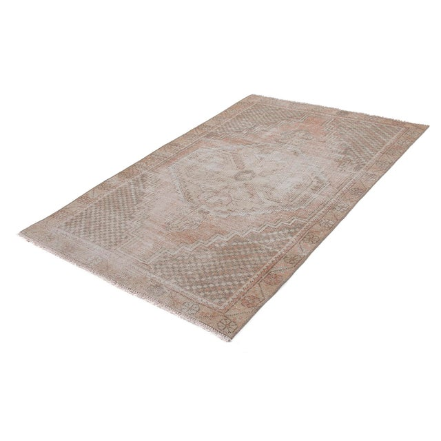 1960s 1960s Vintage Distressed Small Area Rug - 3′5″ × 5′4″ For Sale - Image 5 of 6