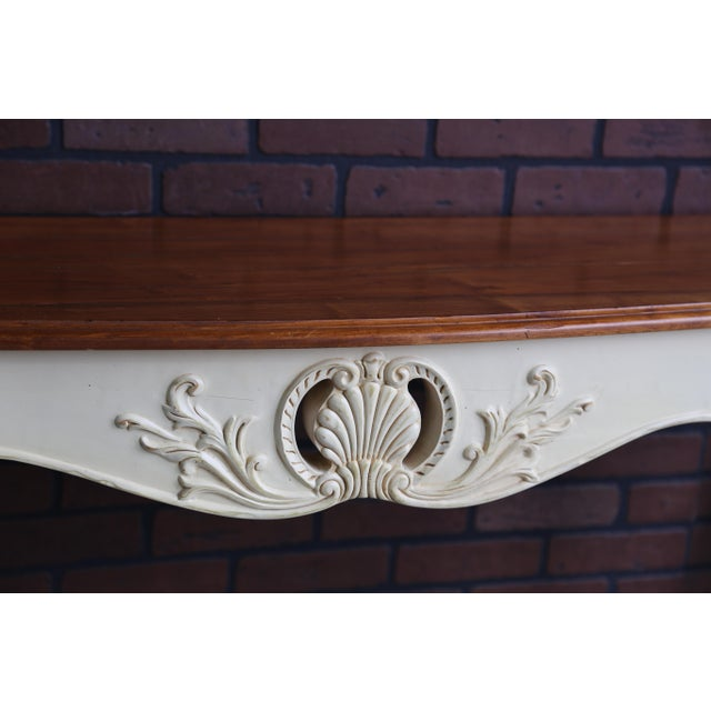 French French Country Ethan Allen Legacy Carved Console/Sofa Table For Sale - Image 3 of 7