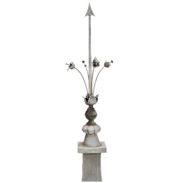 French Architectural Zinc Rooftop Finial with Stemmed Flowers For Sale