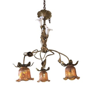 Early 20th Century Art Nouveau 3 Light Chandelier With Original Glass For Sale