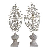 Image of 1900s Vintage French Painted and Metal Bouquets of Flowers- a Pair For Sale