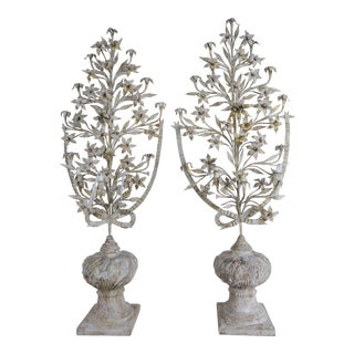 1900s Vintage French Painted and Metal Bouquets of Flowers- a Pair For Sale
