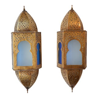 Mid 20th Century Brass Moroccan Lanterns With Blue And White Glass - A Pair For Sale