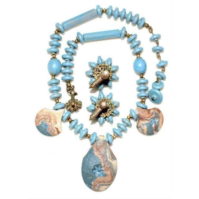 Mid-Century Modern Miriam Haskell Necklace & Earring Set For Sale - Image 3 of 4