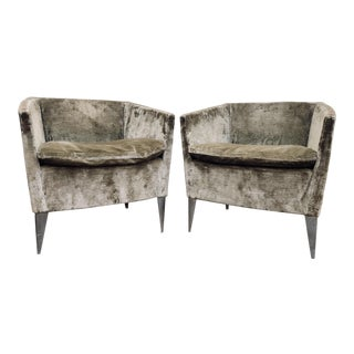 Bernhardt Furniture Co. Contemporary Club Chairs in Original Sage Crushed Velvet - a Pair For Sale