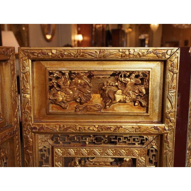 Antique Chinese Four-Panel Screen For Sale - Image 4 of 10