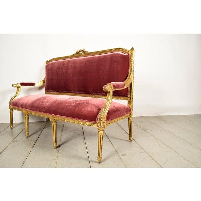 Vintage 1950s Louis XVI-Style Gilt Wood Sofa - Image 6 of 9