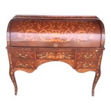 Image of Vintage Dutch Inlaid Style Rolltop Desk For Sale