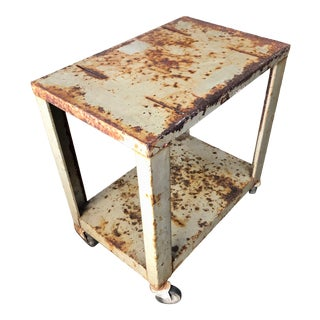 Industrial Vintage Rusty Metal Rolling Stand Cart or Side-Table For Sale