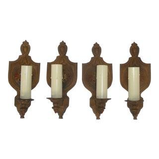 1920s Wall Sconce Lights Tudor Gothic Storybook Cottage - Set of 4 For Sale