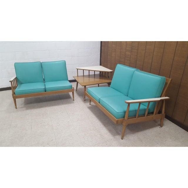 Mid-Century Turquoise Sofa & Table Set - Image 10 of 10