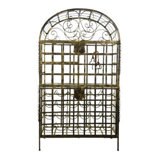 Vintage Locking Gold Wrought Iron Bar and Wine Rack For Sale