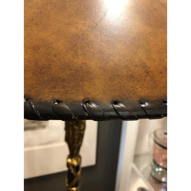 Neoclassical Style Black and Gold Floor Lamp With Leather Shade For Sale In Philadelphia - Image 6 of 9