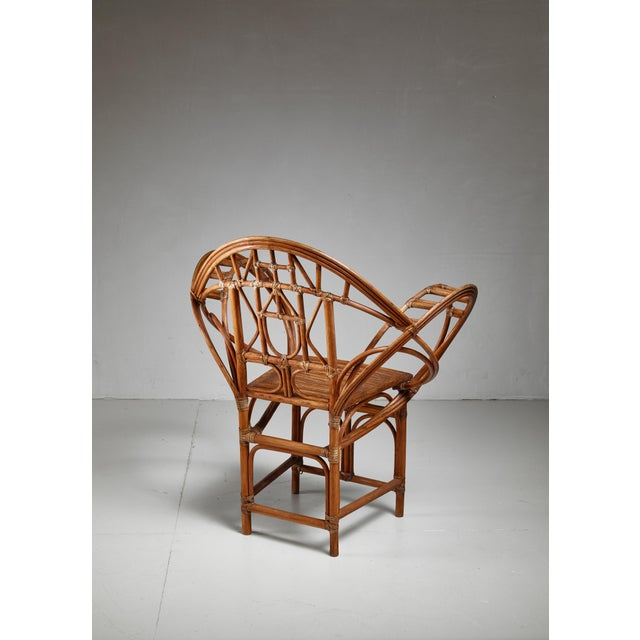 Arts & Crafts Curved hand-crafted willow chair, Austria For Sale - Image 3 of 7