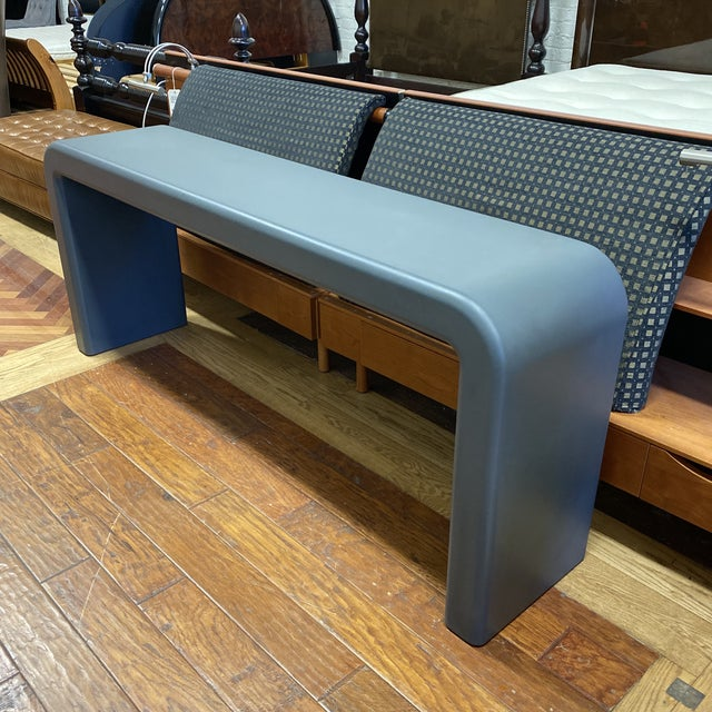 1990s Late 20th Century Karl Springer Style Arch Gray Console Table For Sale - Image 5 of 8