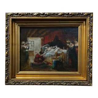 18th century Female Nude Theater Scene -Oil painting