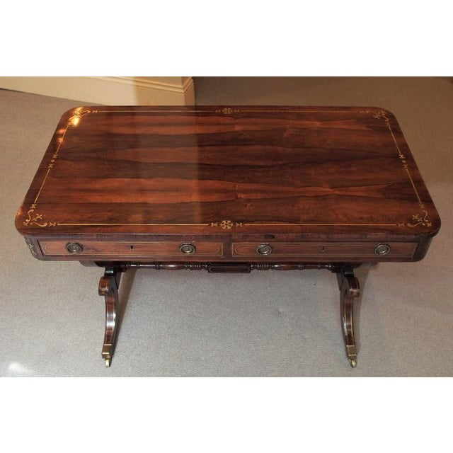Georgian Antique English Regency Rosewood Writing Table, Saber Legs, Brass Inlay For Sale - Image 3 of 10