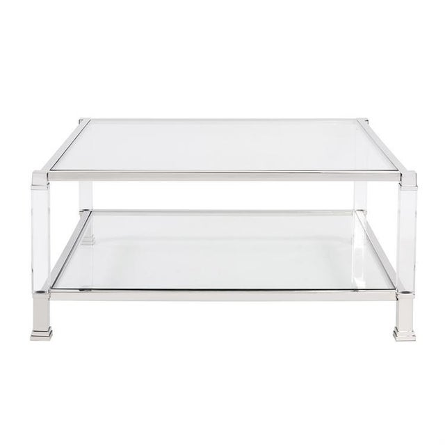 Kenneth Ludwig Chicago Kenneth Ludwig Claire Acrylic & Chrome Coffee Table For Sale - Image 4 of 5