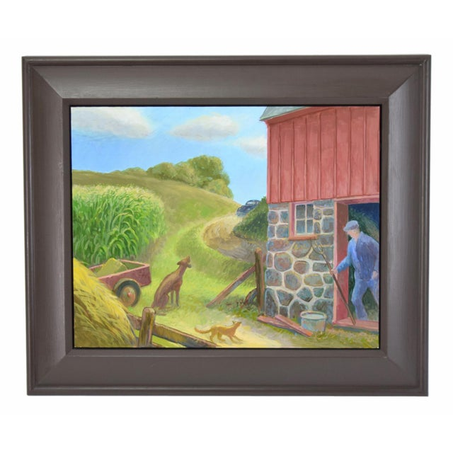 """Randall Berndt """"The Bachelor Farmer"""" Painting on Board For Sale - Image 9 of 9"""