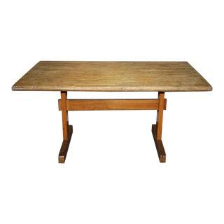 Vintage Maple Trestle Base Table For Sale