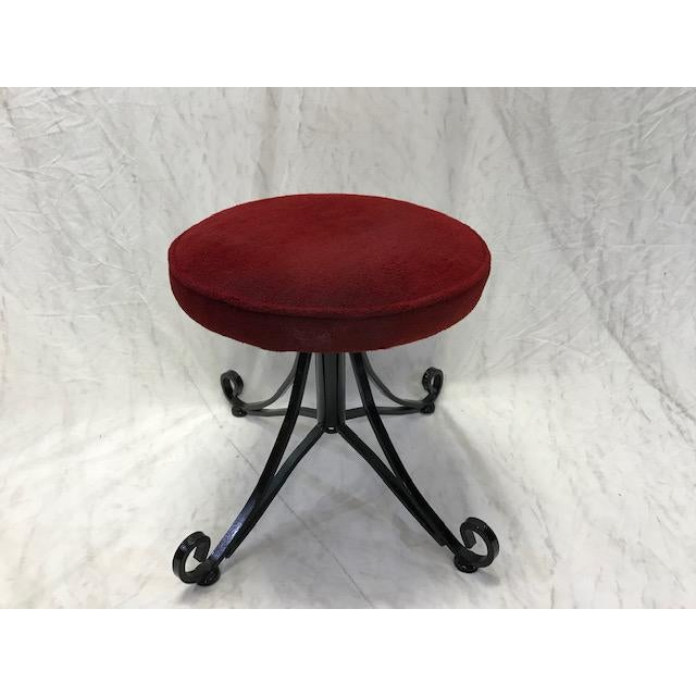 Metal 1960s Vintage Wrought Iron Swivel Stool For Sale - Image 7 of 8