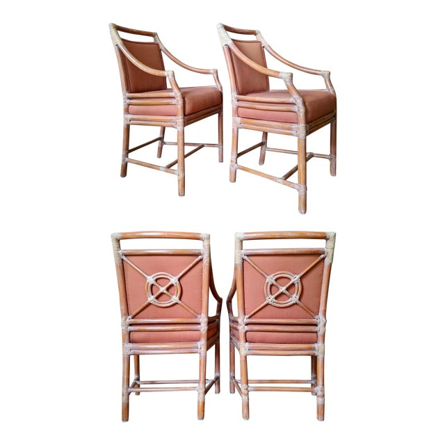 1970s Vintage McGuire Rattan Armchairs- Set of 4 For Sale