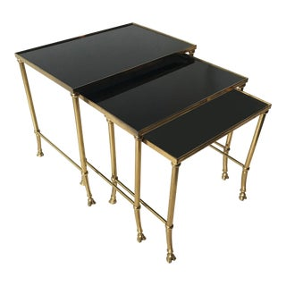 Vintage Set of Bronze Nesting Tables by Maison Jansen