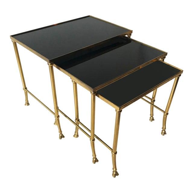 Vintage Set of Bronze Nesting Tables by Maison Jansen For Sale