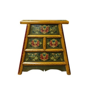Chinese Yellow MIX Color Flower Single Sitting Stool W Drawers