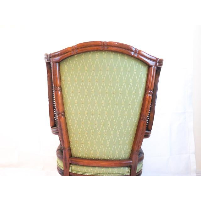 Green English Traditional Green Upholstered Faux Bamboo Wingback Chair For Sale - Image 8 of 9