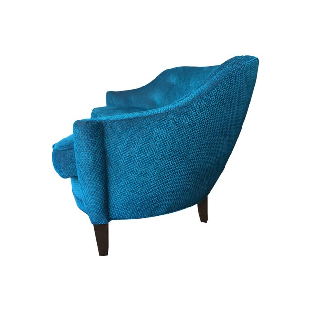I love the graceful curves of this adorable little settee. I had it completely restored, and upholstered in a lavish...