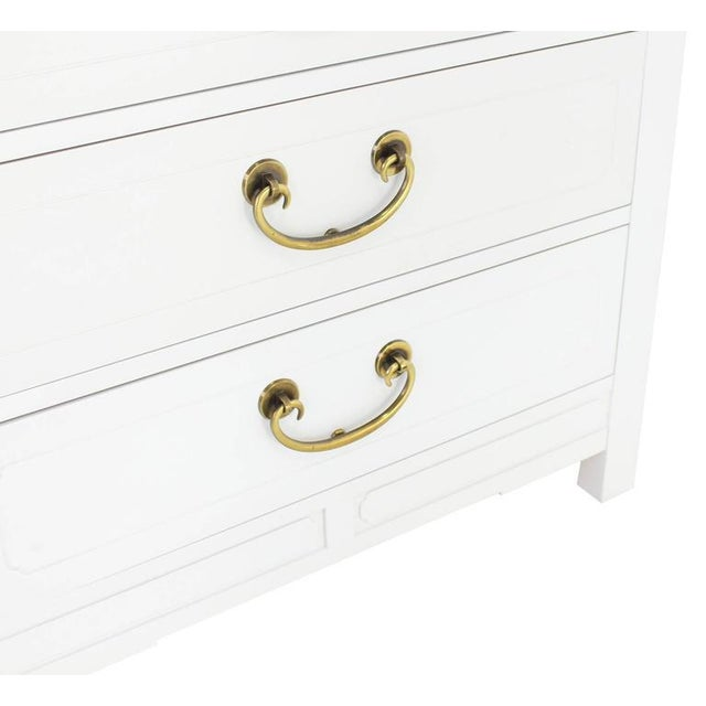 White Mid-Century Modern White Lacquer Brass Pulls Bachelor Chests - a Pair For Sale - Image 8 of 11
