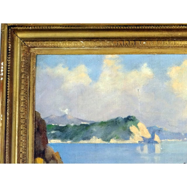 Italian Coastal Painting With Mount Vesuvius by Henry Ravell (1864 – 1930 California) For Sale - Image 4 of 12