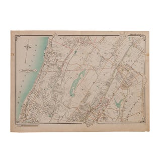 Antique Yonkers and Scarsdale New York Map For Sale