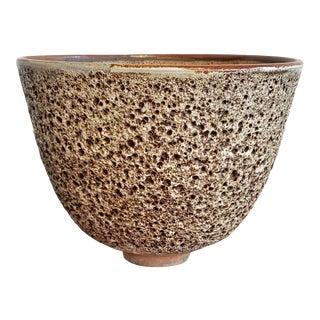 1960s Edna Arnow Volcanic Pumice Glaze Studio Pottery Bowl For Sale