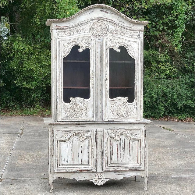 18th Century Country French Painted Bookcase ~ Buffet a Deux Corps For Sale - Image 13 of 13