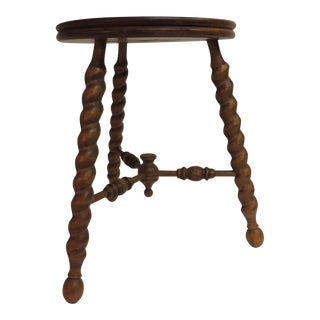 Small Vintage Round Milking Stool with Tripod Burly Legs