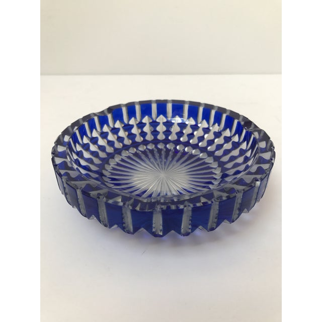 Bohemian Cobalt Blue Lead Crystal Glass Ashtray For Sale - Image 4 of 7