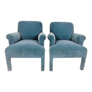 1980's Angelo Donghia Mohair Armchairs - a Pair