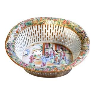 Chinese Export Rose Mandarin Chestnut Basket For Sale