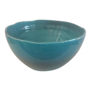 Contemporary Turquoise Ceramic Bowl For Sale