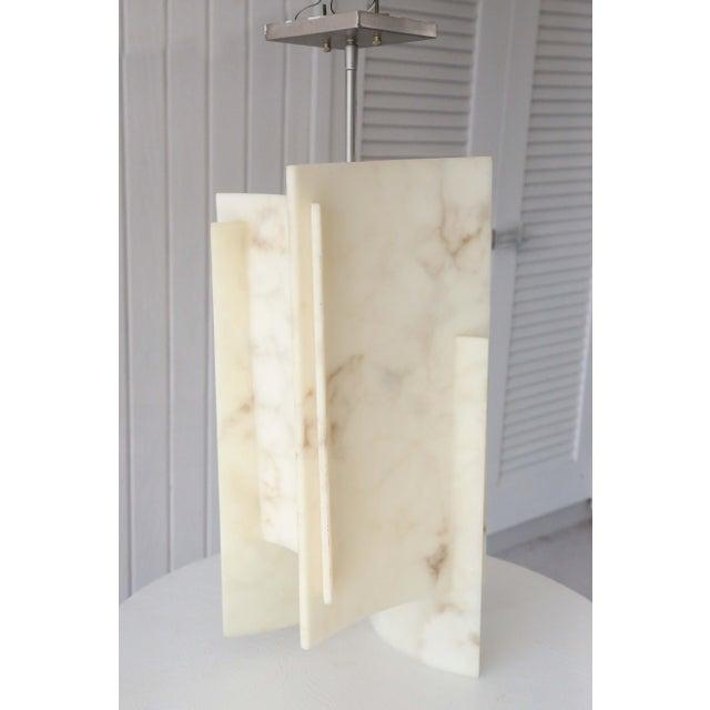 Mid-Century Modern Large Geometric Alabaster Pendant Lights For Sale - Image 3 of 11