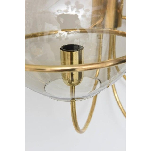 Mid-Century Modern Vico Magistretti Style Brass and Smoke Glass Sconces - a Pair For Sale In West Palm - Image 6 of 12